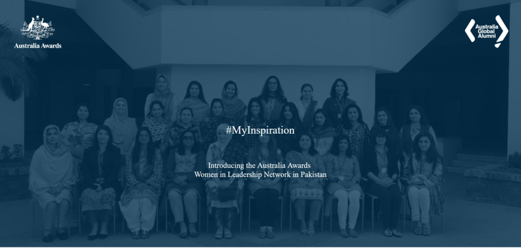 The #MyInspiration website as part of a wider campaign for the Australia Awards Women in Leadership Network